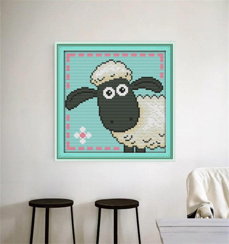 Lindo ovejas Cruz puntada Kits patrones impresos lona bordado ...