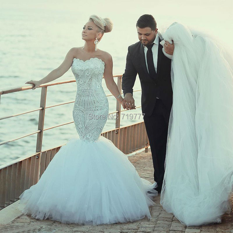 Vintage Mermaid Beach Wedding Dress 2016 Sparkling Crystal Luxury ...