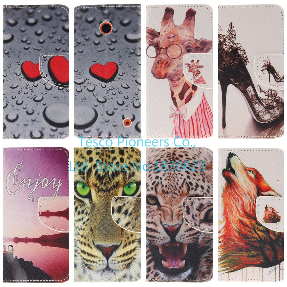 For Lumia 630 Classic Fashion Print Leather Phone Case For Nokia Lumia 630 635 N630 N635 4.5″ inch Stand Card Holder Flip Cover