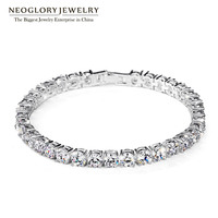 Neoglory Zircon Silver Plated Charm Bangles & Bracelets For Women Girls Snaps Bridesmaid Fashion Jewelry 2018 New