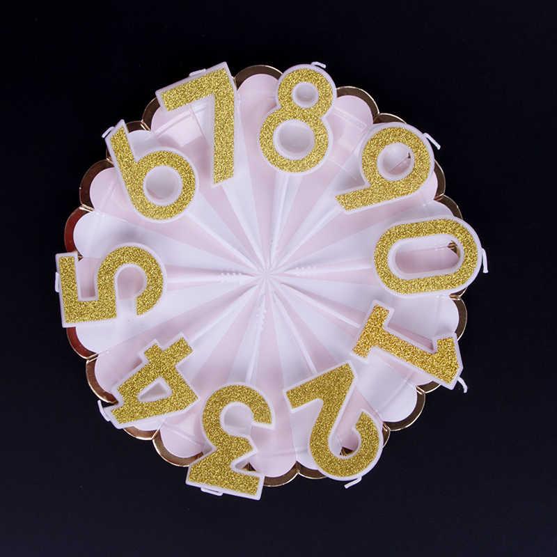 1 قطعة شموع للحفلات الذهب الشظية الوردي الأزرق الأحمر عيد ميلاد الشموع للأطفال الفتيات الفتيان عدد حفلة عيد ميلاد الشموع كعكة ديكور 0-9