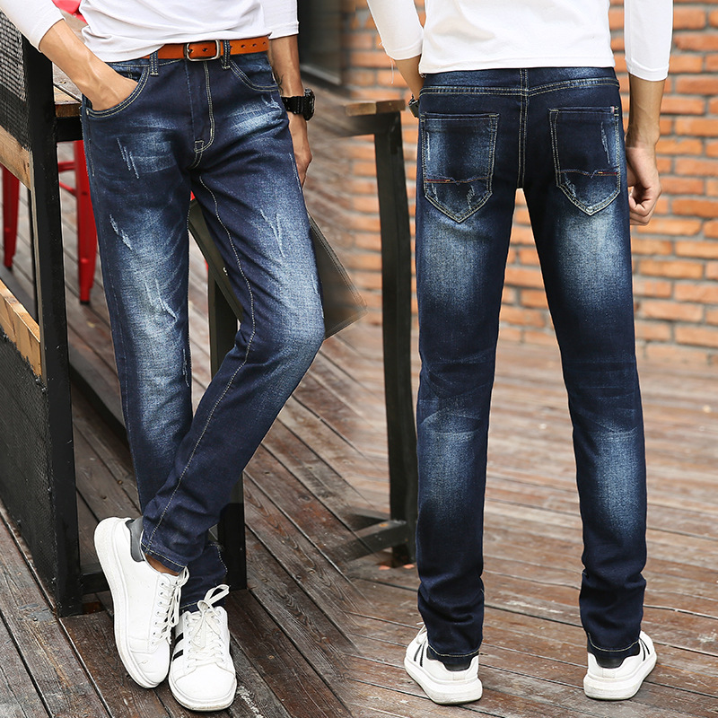 In 2018 the new mens jeans waist stretch jeans Type straight jeans