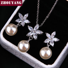 ZYS285 Summer Folwer Imitation Pearl Silver Color Jewelry Necklace Earring Set Rhinestone Made with Austrian Crystals