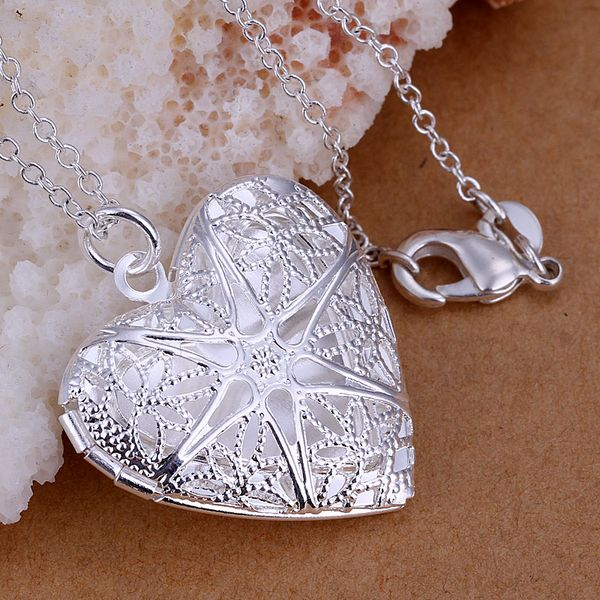 P185_2 Pretty Silver Plated Pendants For Womem Charm Christmas Gifts Fashion Jewelry Heart -shaped mesh flower photo Necklaces