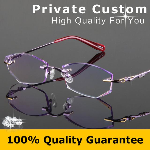 Lente óptica gafas dama De corte de Diamante de alta calidad de lujo Sin Marco mujer antifatiga alta lente transparente gafas de lectura 727-1