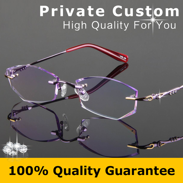 Luxury optical glasses lady Diamond cutting lens high quality No Frame woman Anti fatigue high clear lens reading glasses 727-1