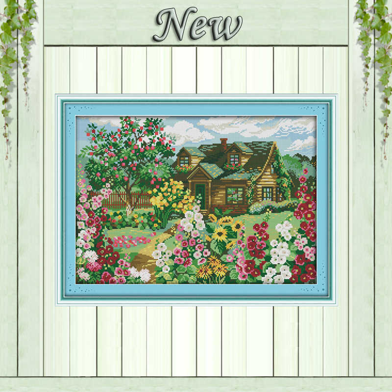 Country cottage Scenery house Counted printed on canvas DMC 14CT 11CT Joy Sunday Cross Stitch Needlework kits Embroidery Sets