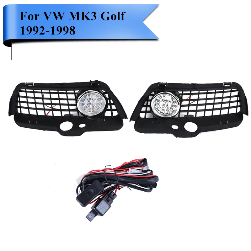 ФОТО Super White LED Driving Fog Light Foglamp Grill Set with Wire Cable For VW MK3 Jetta Golf 3 1992-1998 Car Front DRL Kit #PD543