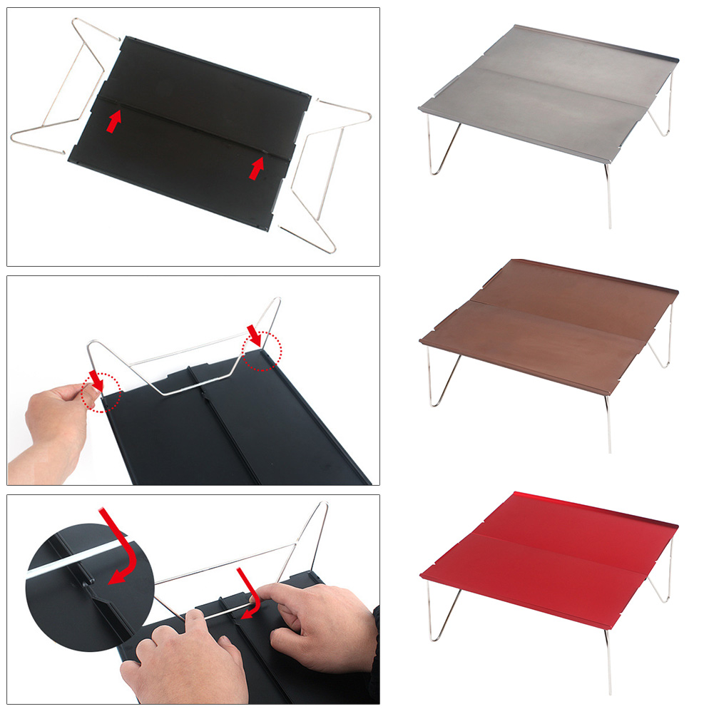 Image 5 - Hiking Durable Lightweight Outdoor Single Camping Folding Table Desk Barbecue Picnic Furniture Aluminum Plate Mini Portable-in Outdoor Tables from Furniture