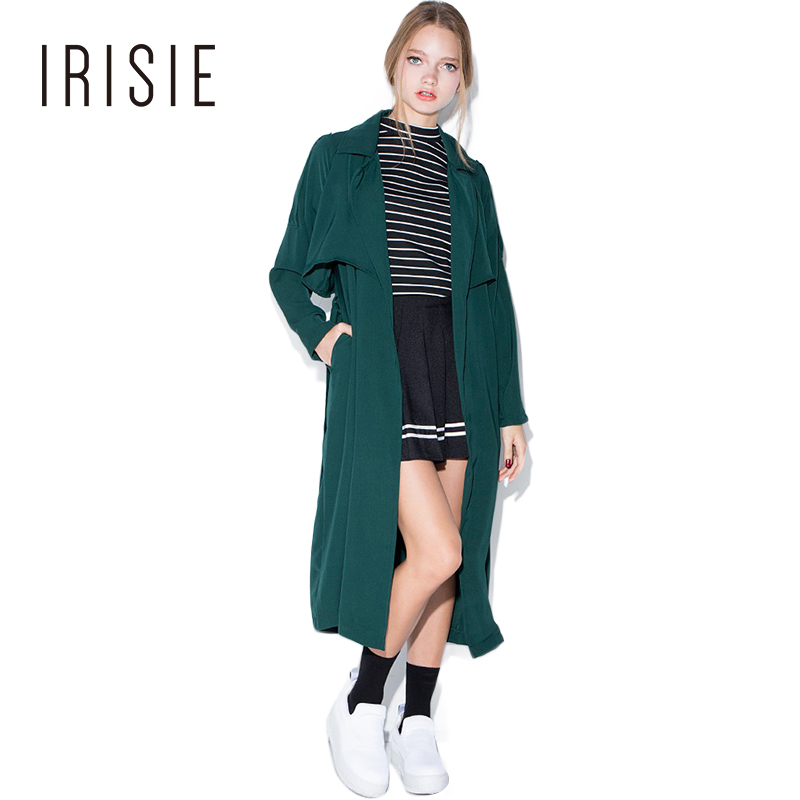 IRISIE Apparel Army Green Casual Trench font b Coat b font Loose Tie Waist Sweet Autumn