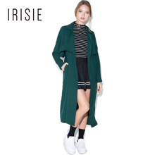 IRISIE Apparel Army Green Casual Trench Coat Loose Tie Waist Sweet Autumn Female Trench Lapel Front Chic Women Longline Coat