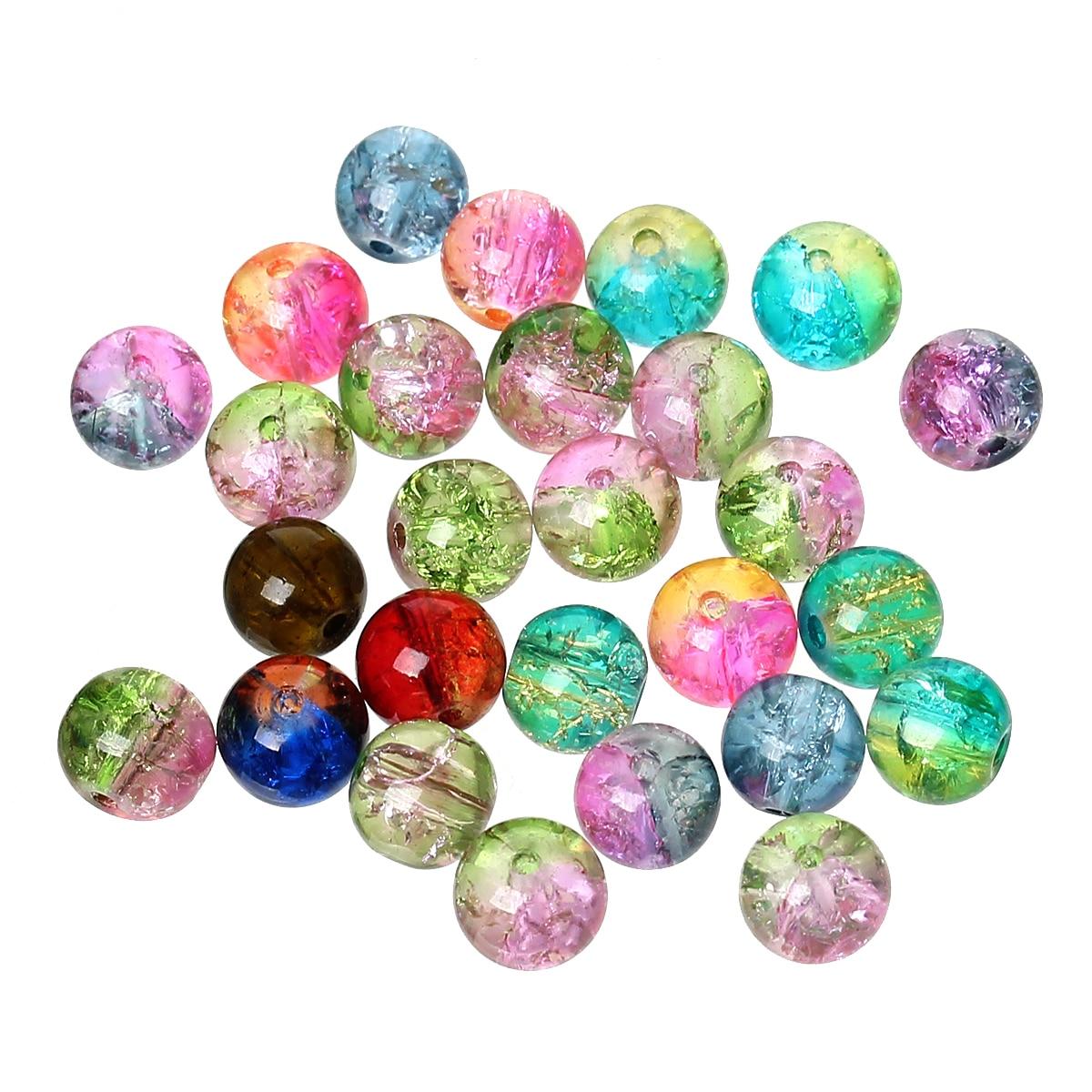 Prix pour DoreenBeads 500 Mixte Crackle Verre Perles Rondes 8mm Dia. (B05641), yiwu