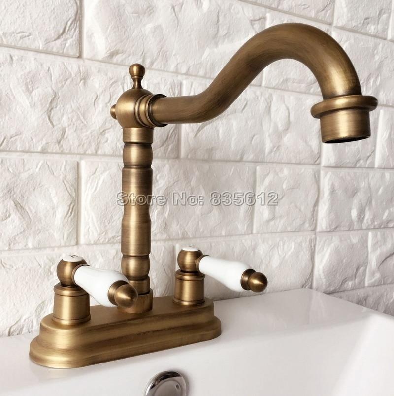 Retro Antique Brass Dual Lever Kitchen Sink Faucet Swivel Spout Faucets Wan065 antique brass swivel spout dual cross handles kitchen