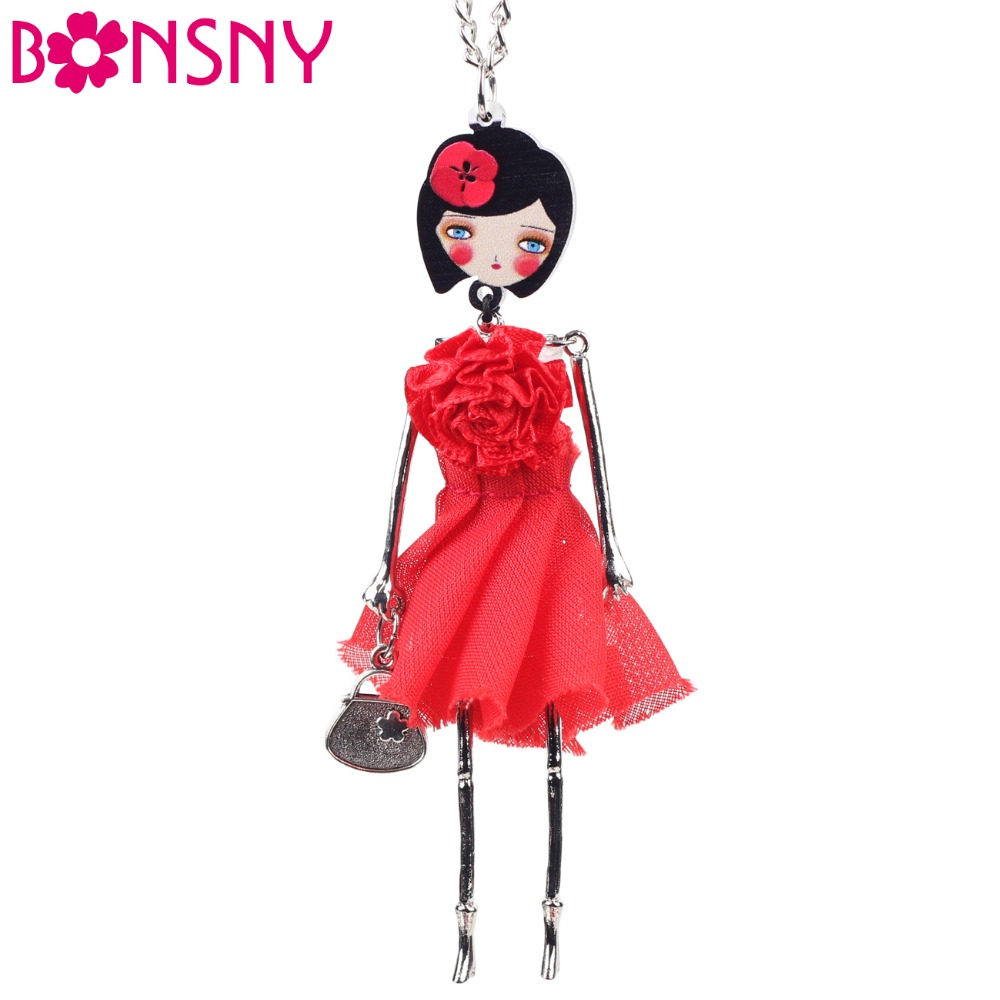 Bonsny Handmade Doll Necklace Frence Cloth Long Chain Pendant 2015 New Spring Style Fashion Jewelry For Women Accessories