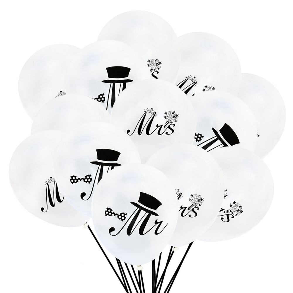 10Pcs/lot 10inch Mr & Mrs White Latex Balloon for Wedding Birthday Party Decoration Balloons Supplies Valentines Day Air Baloon