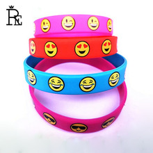 RE 100pcs/lot Free Shipping Emoji Wristband Bracelet Rubber Hand Bands Smile Cry Promotions Silicone Bracelets