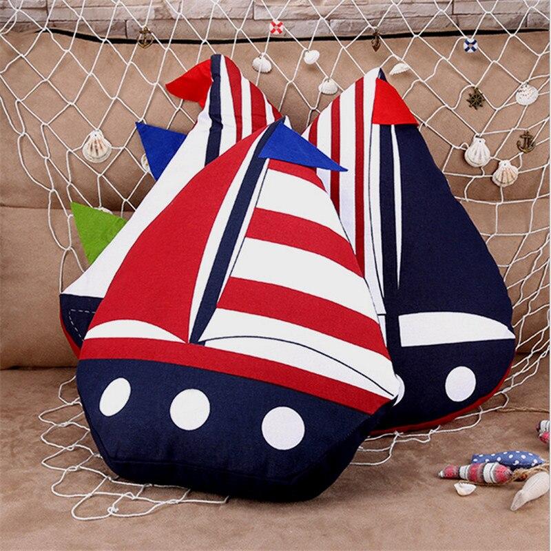 1 pcs Creative Sailboat Cotton And Linen Soft Pillow Mediterranean Style Cushion Kids Home Sofa Decorative Birthday Gift