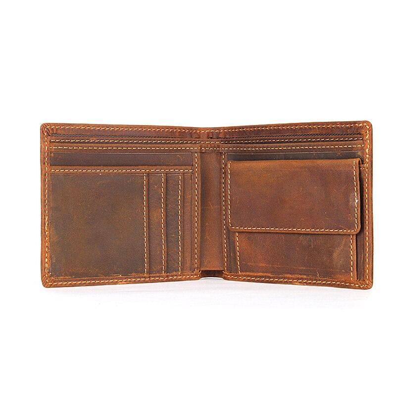 High Quality Slim Wallet Men Vintage Crazy Horse Mens Wallets Short Purse Small Coin Pocket Card Holder Money Bag Portemonnee