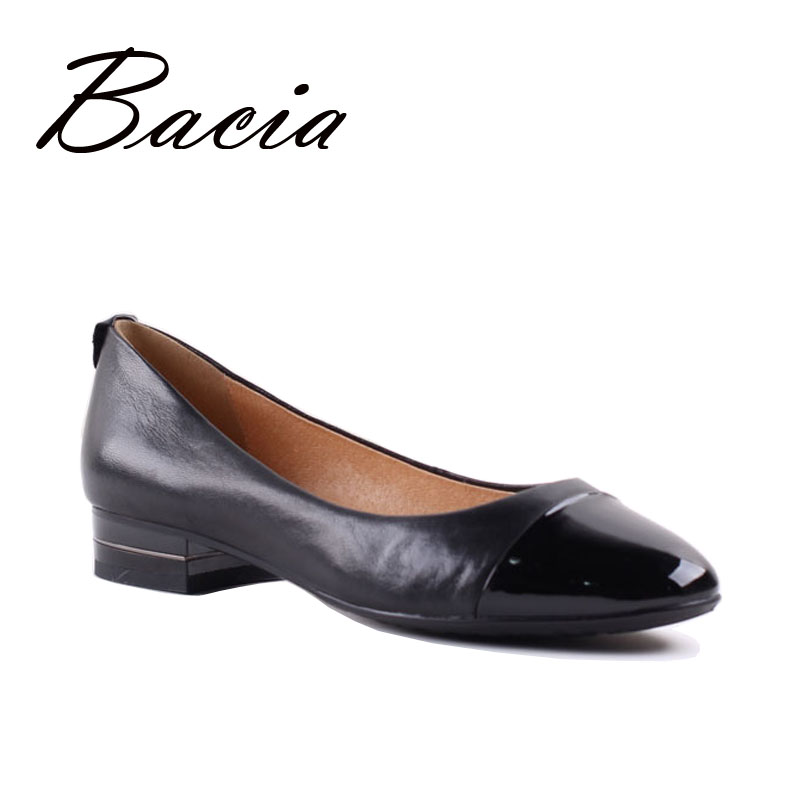 Bacia 2017 Woman Genuine Leather Flats Ladies Shoes High Quality Sheepskin Shoes Top Casual Work Loafers