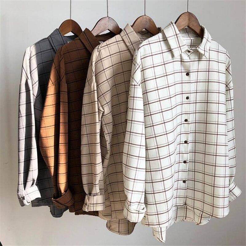 De algodón a cuadros de la Universidad blusas 2018 jaula de mujer Casual Blusa de manga larga de las mujeres, camisa de oficina dama tops