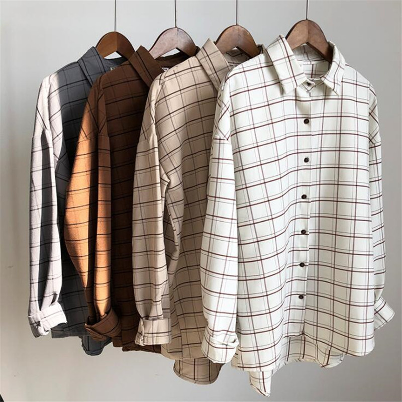 Loose cotton Checkered plaid College blouses shirt 2018 Cage female long sleeve Casual women Blouse shirt office lady tops