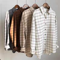 Lose baumwolle Checkered plaid College blusen hemd 2020 Käfig weiblichen langarm Casual frauen Bluse hemd büro dame tops