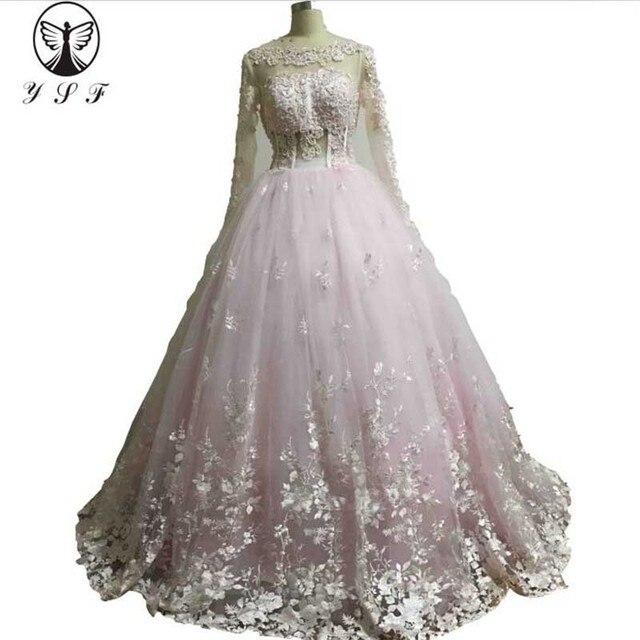 10d24527ab1b Vintage Pale Pink Vestidos De Formature O Neck Appliqued Beaded Pearls A  Line Long Sleeve Prom Dresses 2018