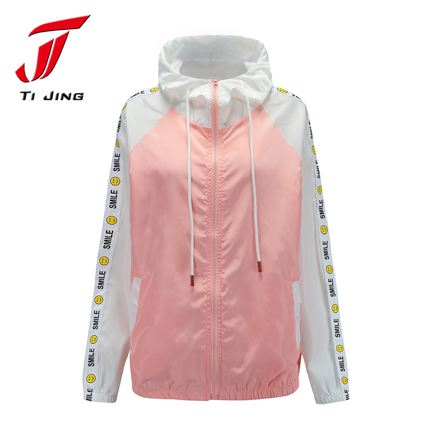 TJ plus size women spring and summer hooded jackets cartoon harajuku bomber thin jacket coats woman fashion be free rain wearT31 ...