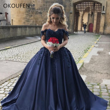 2019 Quinceanera Dresses Prom Ball Gown Off the Shoulder Long Sleeves Satin Sweet 15 16 Evening Party Wear