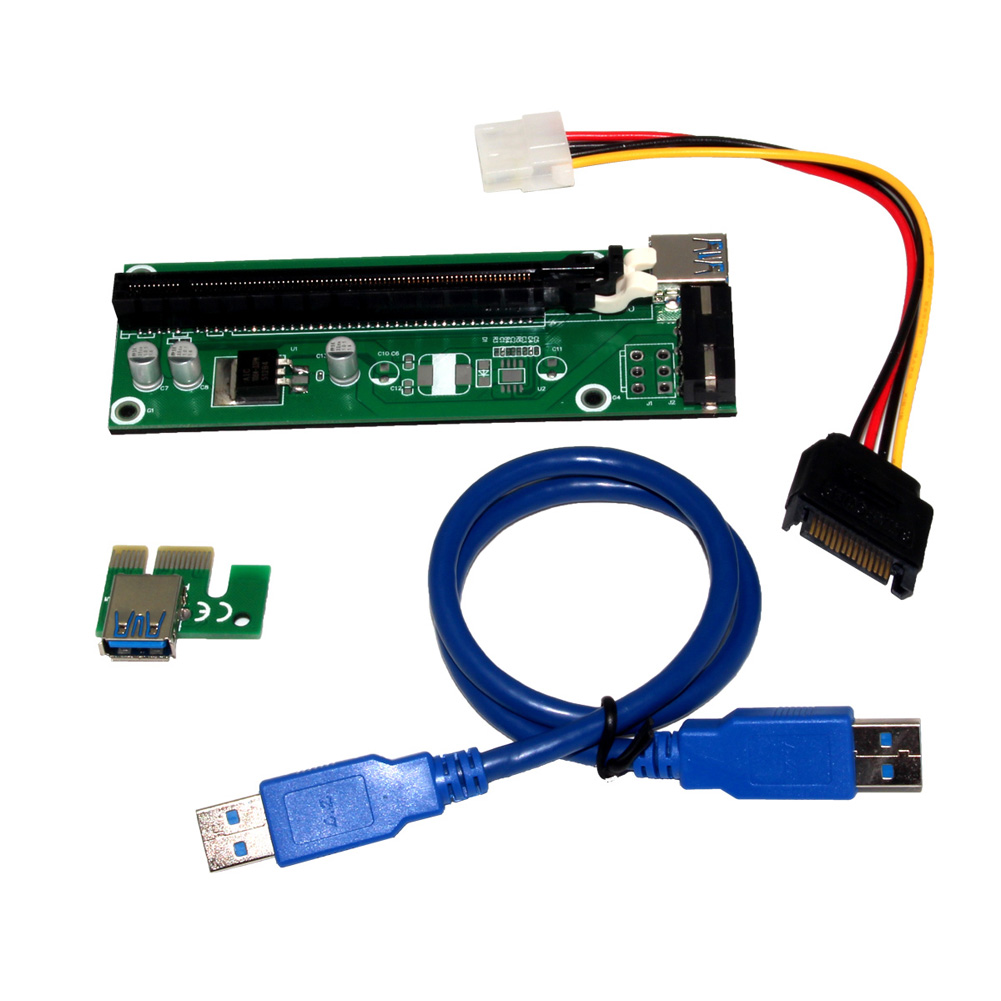 <font><b>USB</b></font> <font><b>3.0</b></font> <font><b>PCI</b></font> <font><b>Express</b></font> Extender Riser Card Adapter for Motherboard <font><b>PCI</b></font>-E 1x to 16x w/ 30cm SATA 15-4pin Power Cable for BTC Mining image