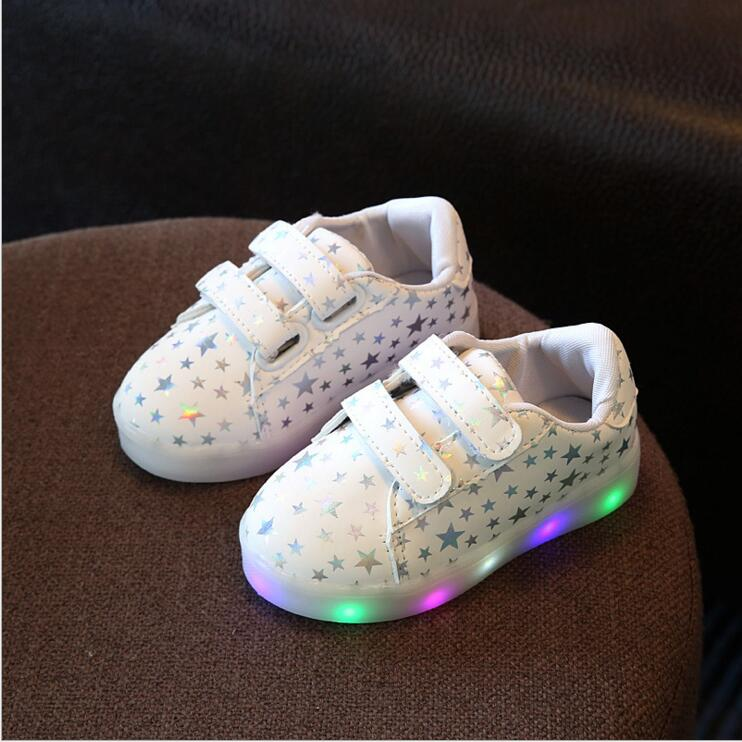 Children shoes with light autumn baby girls shoes chaussure led light kids fashion breathable boys sneakers 4 colors