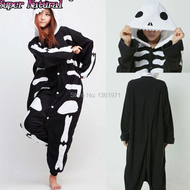 HKSNG Good Quality Women Adult Winter Soft Flannel Skull Kigurumi Pajamas  Onesie Skeleton Cosplay Homewear For Party e1b5ca0078293