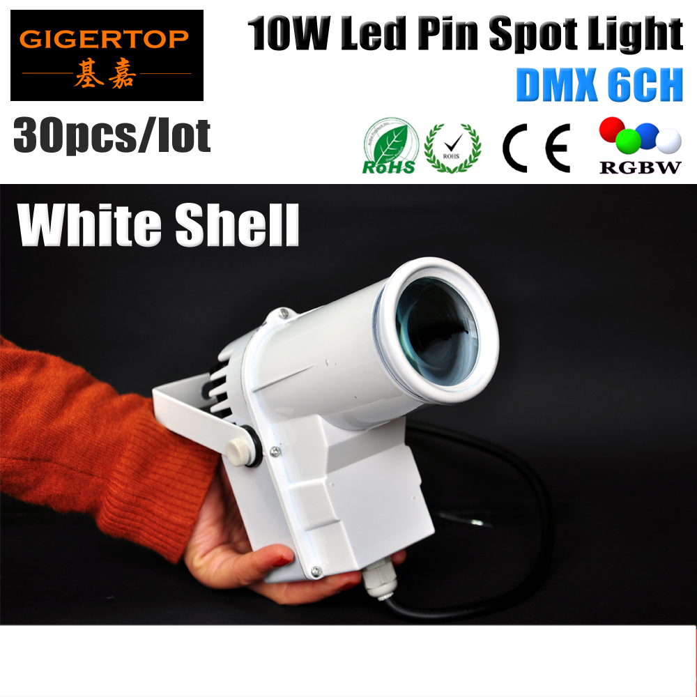 Freeshipping 30XLOT White Shell Painting 10W DMX Led Spot Light RGBW 4IN1 Disco Glass Rotating Mirror Ball DJ party lighting