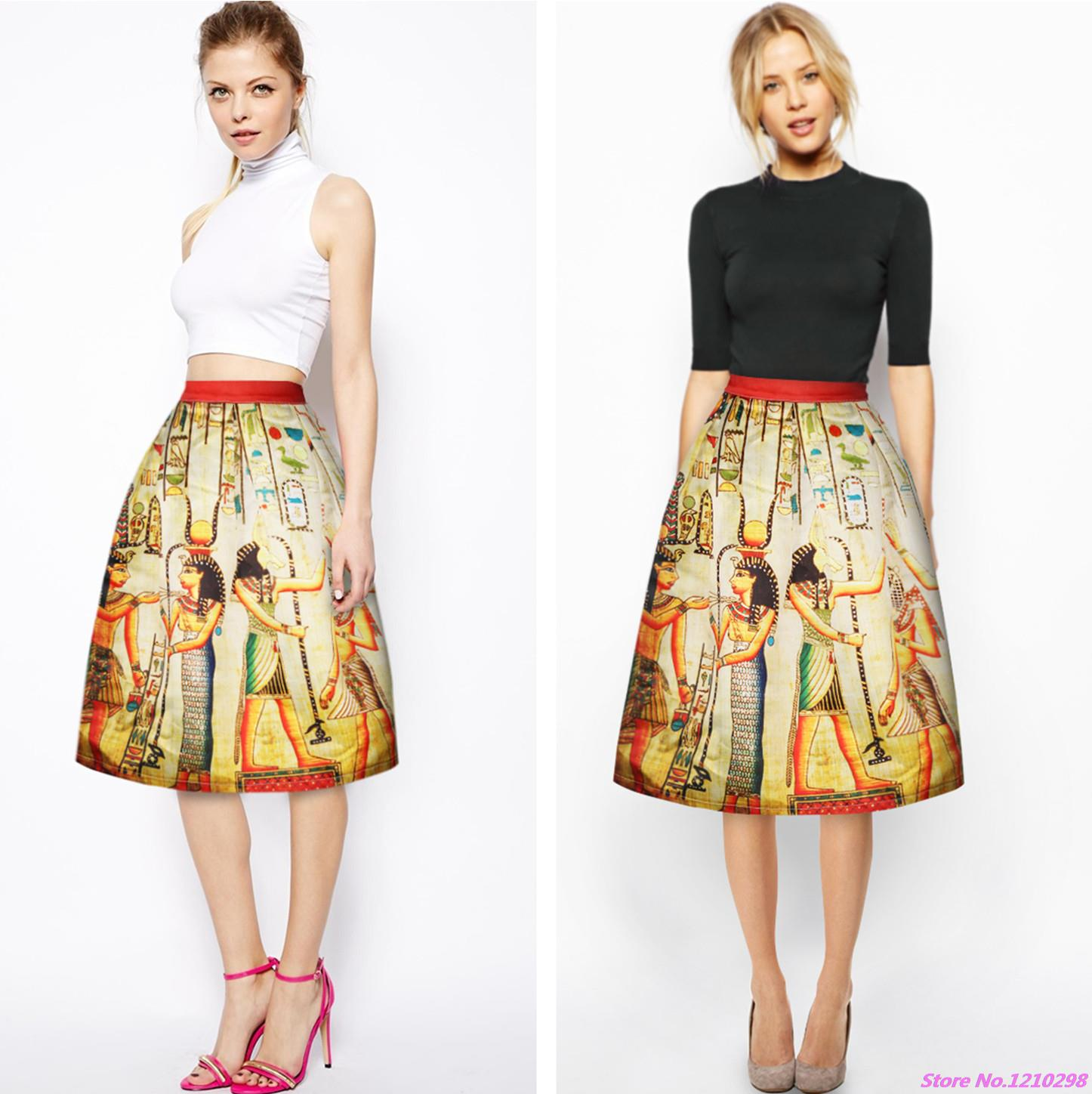 18c78c2eefd7 Sports Lover Egyptian Mural Printed Women Skirts High Waist Pleated ...