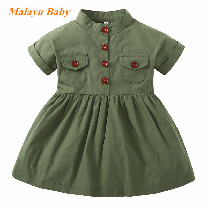baby dress 2018 New Girls Dress Army Green Short Sleeved Summer Casual Princess Dresses Summer Children Clothing Baby Dress