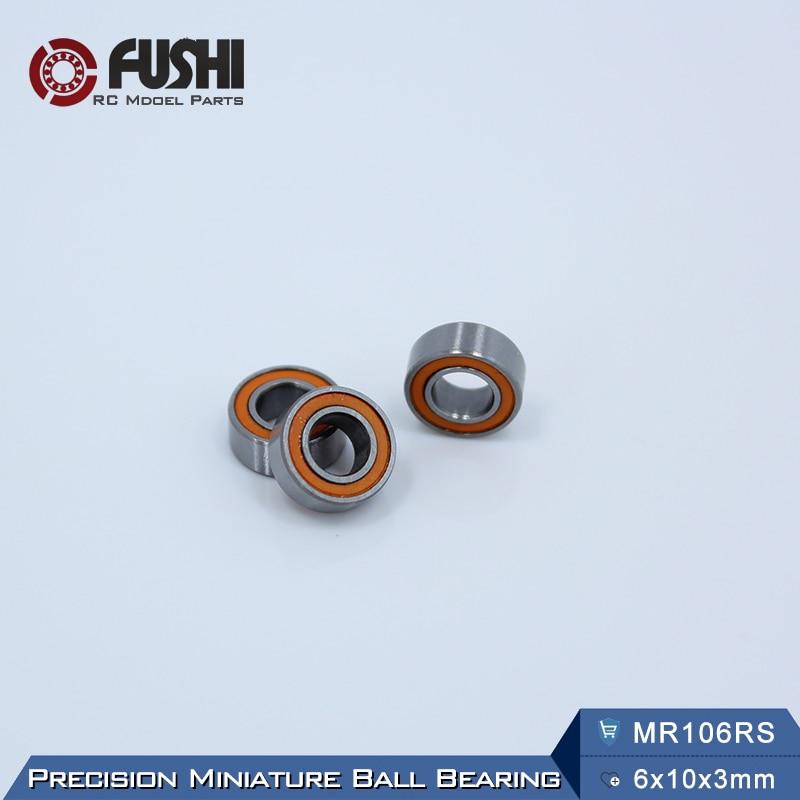 MR106RS Bearing ABEC-3 (10PCS) 6X10X3 mm Miniature MR106-2RS Ball Bearings Orange Sealed MR106 2RS Bearing 1pcs 71901 71901cd p4 7901 12x24x6 mochu thin walled miniature angular contact bearings speed spindle bearings cnc abec 7