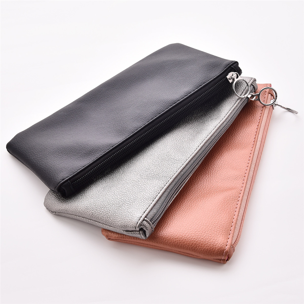 Solid Color PU Leather Purse Pencil Case With Zippered Cosmetic Bag Makeup Bag Coin Money   Pouches For Women Travel Party