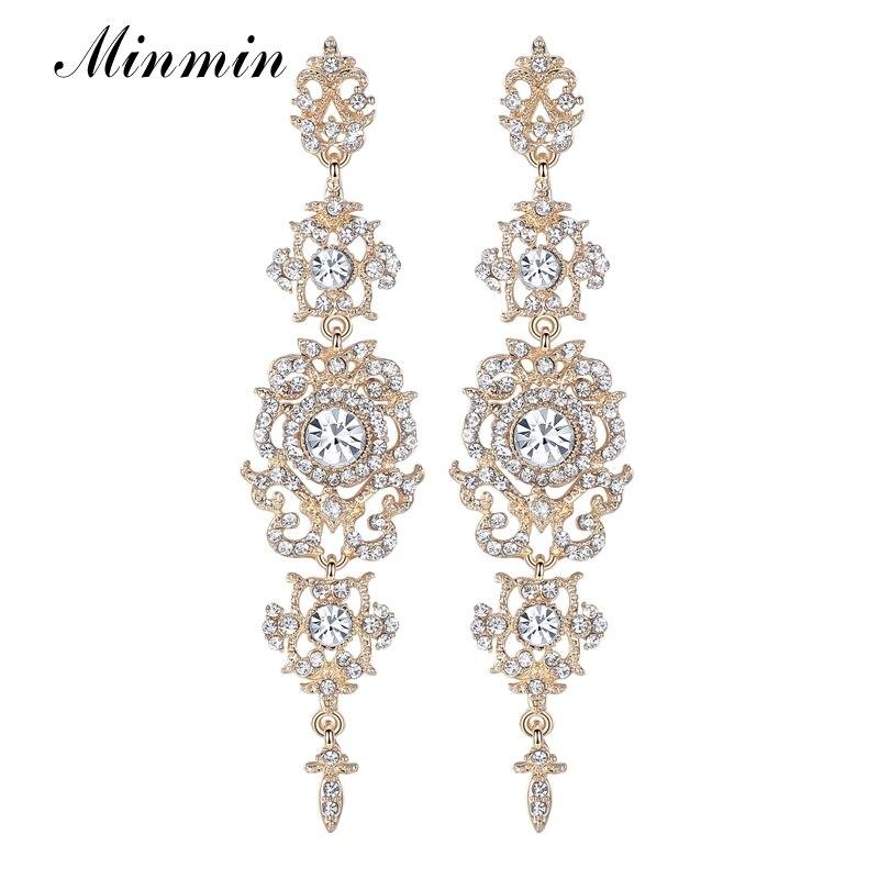 a8aefb967266c Minmin الذهب الفضة اللون الأقراط الطويلة للنساء الزهور شكل الأزياء مجوهرات  الزفاف الزفاف كريستال استرخى القرط حزب EH182