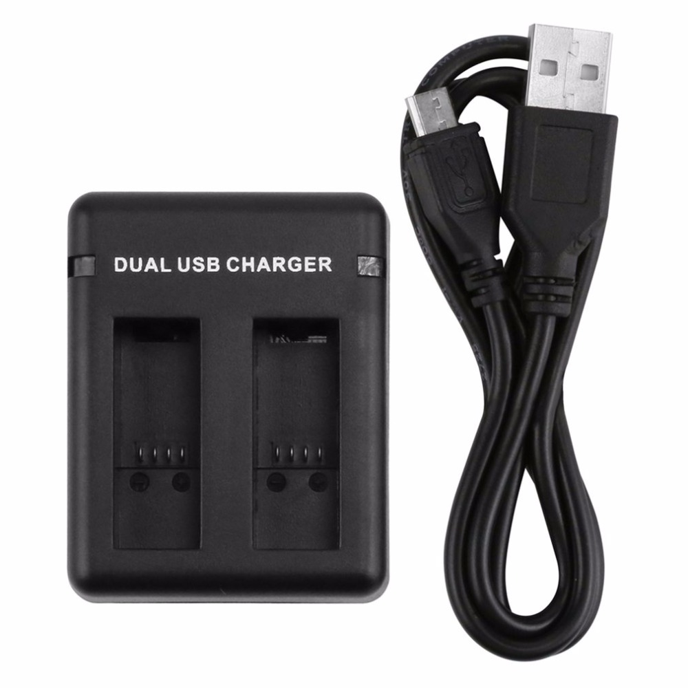 Camera USB Battery Charger With Dual Charging Slots With USB Cable Compatible For GoPro Hero 5/6 ...
