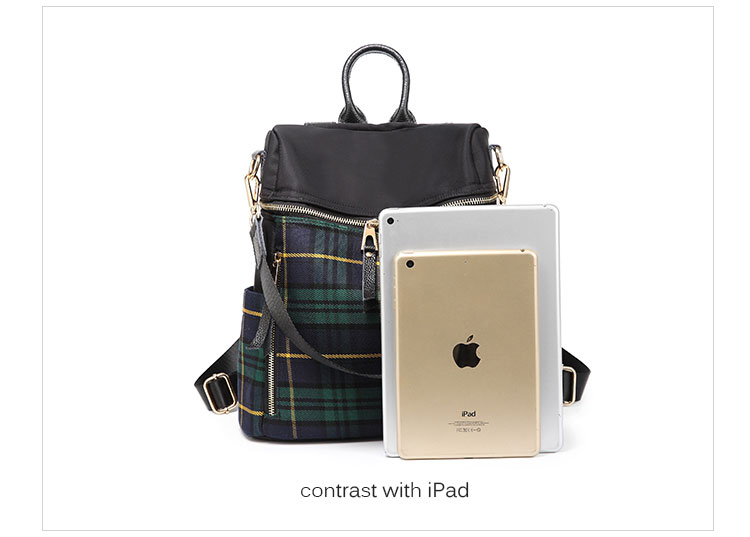 plaid women backpacks genuine leather travel backpack for lady brand shoulder bags (5)