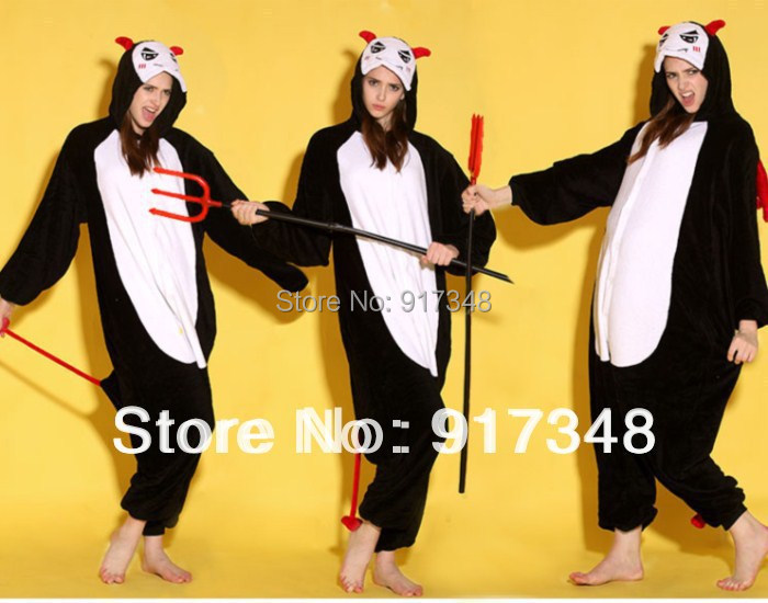 Unisex Adult Flannel Halloween Costumes Devil Evil Ghost Onesies Onesie Pajamas  Jumpsuit  Hoodies Sleepwear For Adults