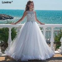 Bling блестящие трапециевидной формы Платье для первого причастия для девочек с Бисер блестками для девочек в цветочек платья