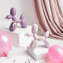 Nordic ceramic  pink balloon dog Statue Figurine Miniature Home decor table Decoration Crafts kid gift