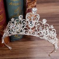 WEIJUN Pearl Bridal Crowns Handmade Tiara Bride Headband Crystal Wedding Diadem Queen Crown Wedding Hair Accessories