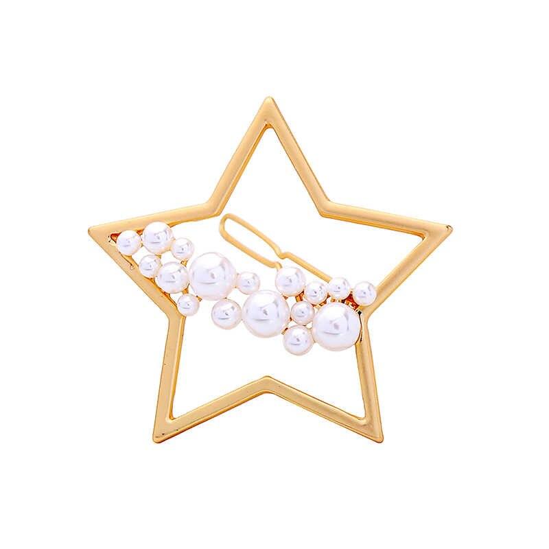 Заколки для волос с жемчугом Звезда Луна круг полосы шпильки свадебные аксессуары для волос корейская мода ювелирные изделия Подарочная коробка