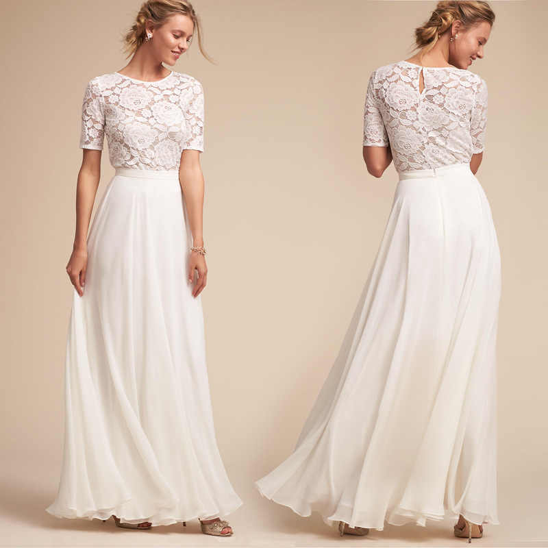 9105461771 Backlakegirls Elegant Evening Dress White Lace Short Sleeve Appliques  Choffon 2018 Hot Sale For Party Women Prom Evening Gown