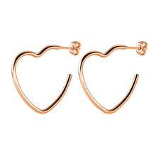 Punk Rose Gold Silver Color Heart Top Quality Ear Clip For Women Men Stainless Steel Hollow Stud Earrings Fashion Jewelry цена
