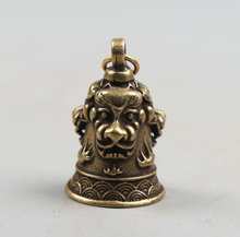 34MM/1.3 Collect Curio Rare China Fengshui Bronze Exquisite Animal Head Lion Small Bell Pendant Statue Statuary 18g