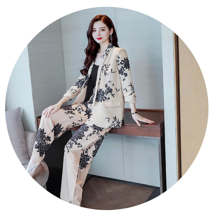 YASUGUOJI New 2019 Spring Fashion Floral Print Pants Suits Elegant Woman Wide-leg Trouser Suits Set 2 Pieces Pantsuit Women 17
