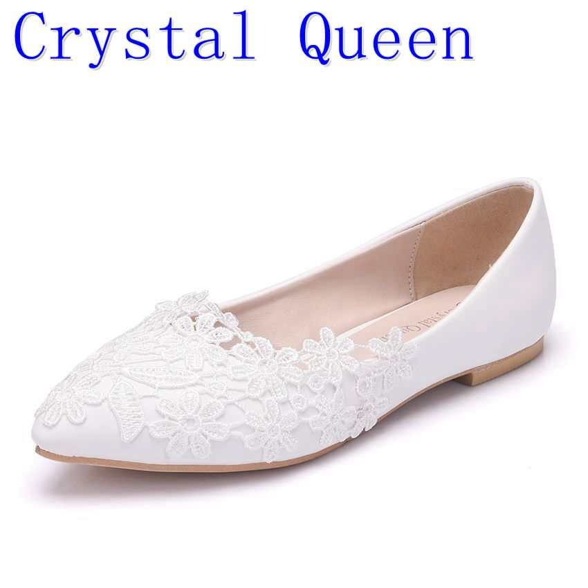 Crystal Queen Ballet Flats White Lace Wedding Shoes Flat Heel Casual Shoes  Pointed Toe Women Wedding